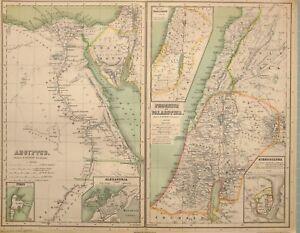 1892 Landkarte Ägypten Alexandria Nil Delta Phoenice Palästina Israelitarum