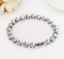 18K White Gold Filled Lady's 6mm Crystal Tennis Bracelet Chain Bangle Wedding