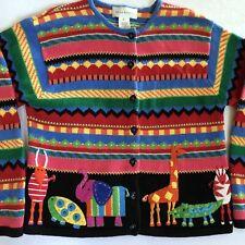 Susan Bristol Sweater Cardigan Zoo Animals Elephant Giraffe Turtle Colorful M