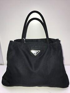 auth vintage prada black nylon leather tessuto purse hand shoulder tote bag