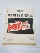 1989 Data East Monday Night Football Pinball Manual W/ 2 Flyers