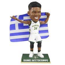Giannis Antetokounmpo Milwaukee Bucks Greece Flag Bobblehead NBA Greek Freak