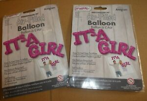 JOB LOT 2 X FOIL BALLOONS - NEW IN PACK - ITS A GIRL - PINK AIR FILL ONLY