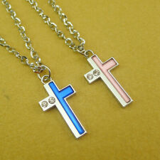 Jesus Cross Pendant Couple Necklace Set Lovers Gift Silver Stainless Steel Chain