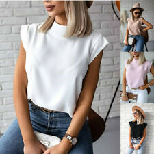 Women Summer Short Sleeve T Shirt Stand-up Collar Casual Blouse Solid Loose Tops