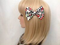 Black white gingham hair bow clip rockabilly pin up girl retro vintage cherry