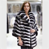 Luxury Women Gift Real Chinchilla Full Pelt Rex Rabbit Fur Coat Jacket Overcoat