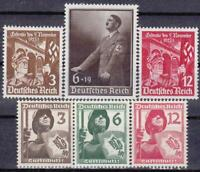 3rd Reich - Nazi Germany  -  6 Rare WWII Stamps MNH!!