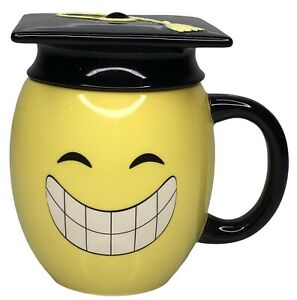 Russ Berrie Graduation Yellow Smiley Face Coffee Mug Size 12 oz Cup