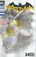 Batgirl Original Watercolor Painting Blank #1 Batman Sketch Cover Book M Wehner