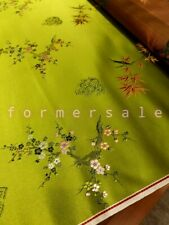 Fabric Silk Brocade Lime Green and colourful Season Floral  -by half yard-