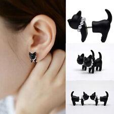 1 Pair Simple Stereoscopic Cat Kitten Impalement Lady Stud Earring Black Punk
