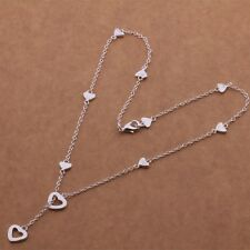 "925 Sterling Silver Multi-Heart Lariat Y-Shape Charm Pendant Necklace 18"" N17"