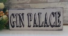 Gin Palace Sign Wooden Shabby Handmade Vintage Bar Pub Free standing plaque