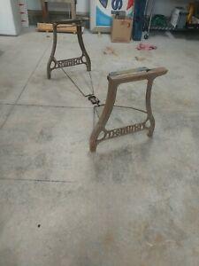 Pair Vtg DEMING MACHINE Industrial Metal  Table Desk Legs Folding Set w/ Braces