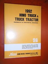1992 HINO TRUCK TRACTOR ORIGINAL FACTORY OWNER'S DRIVER'S MANUAL MODEL SG