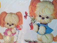 NOS Vintage YARN DOGS Kitschy Childs Room Decor Transfer Meyercord Decal Art 319