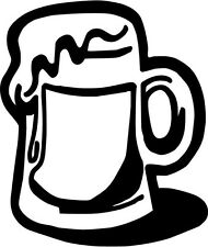 "Beer Mug Vinyl Decal Sticker Truck Window- 6"" Tall White Color"