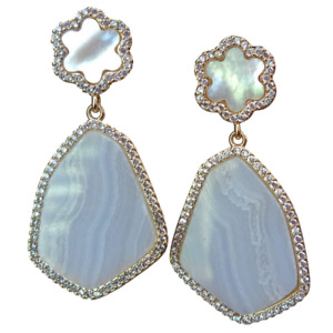 Natural Blue Lace agate Chalcedony White Mop Flower Cz Pave Stud Earrings