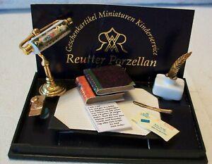REUTTER PORZELLAN DOLLHOUSE MINIATURE VICTORIAN DESK LAMP SET  NEW MINT