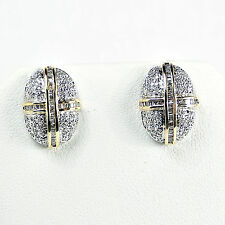 10k White & Yellow Gold 1 ctw DIAMOND POST EARRINGS 5 GRAMS
