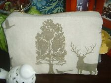 22cm x 15cm VOYAGE SHERWOOD  FOREST DEER  COSMETIC BAG  ZIPPED LINED BEIGE