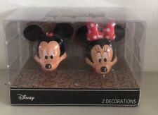 Primark Disney Mickey & Minnie 2 X Christmas Bauble Decoration Red Black Hanging