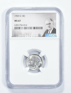 MS67 1955-S Roosevelt Dime - Graded NGC *672