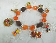 Fall Charms Stretch Bracelet Brown Orange Bead Fashion Jewelry New