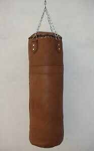 VINTAGE | TAN LEATHER BOXING GYM TRAINING PUNCH BAG - RETRO