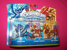 SKYLANDERS SET 3 PERSONAGGI DOUBLE TROUBLE + WHIRLWIND + DRILL SERGEANT NEW