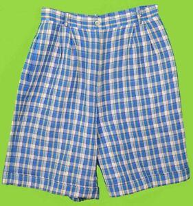 Talbots sz 12 Womens linen Blue Yellow Plaid Dress Shorts NQ15