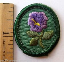 Retired Oval 1978-2011 Girl Scout PURPLE PANSY TROOP CREST Flower Patch Troop ID