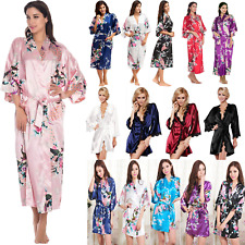 Women's Silk Satin Robe Kimono Dress Gown Nightdress Bathrobe Pyjamas Sleepwear
