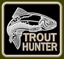 """TROUT HUNTER EMBROIDERED PATCH ~3"""" x 2-7/8"""" BRODÉ MUOKKAA AUFNÄHER FISHING ROD"""