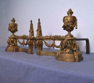 Louis XVI Style French Antique Gilt Bronze Andirons/Fireplace Chenet with Lions