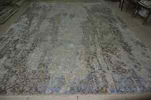 India Hand Knotted 10x14 300x425 Soft Wool Art Silk Transitional Carpet Area Rug