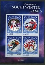 SIERRA LEONE 2016 CHAMPIONS OF THE SOCHI WINTER OLYMPIC GAMES SHEET  IMPF  MINT