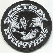 Destroy Everything Embroidered Patch - Iron On - Filth Punk Rock -Free Shipping!