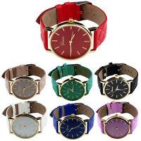 Unisex Casual Womans Mans Geneva Checkers Faux Leather Quartz Analog Wrist Watch