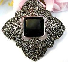 Vintage Fine Jewelry JUDITH JACK Marcasite Sterling Silver Black Onyx Brooch