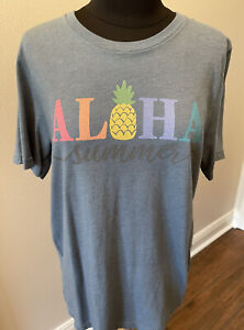 Aloha Summer Ladies Bella Canvas Dark Blue Gray Tee Large