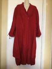Shephards Linen Clothing Red Linen Coat Jacket Coatdress L 16