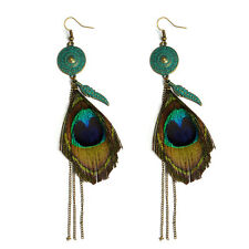 UK BOHO PEACOCK FEATHER DANGLE DROP EARRINGS Beach Ethnic Tribal Jewellery