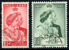 Aden States - Kathiri 1949 Silver Wedding Set Fine Used SG 12/13
