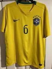 Nike Authentic Brazil National Team #6 2015 Dri-Fit Soccer Jersey Size Large