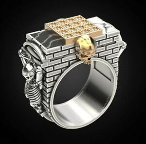"""Awesome 925 Silver Horror Gothic """"Skeleton Hanging On The City Wall"""" Skull Ring"""