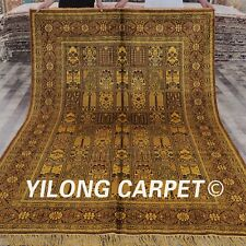 YILONG 6'x9' Four Seasons Handknotted Silk Carpet Gold Washed Area Rug G13C