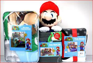 4/6 pcs - SUPER MARIO Reversible Comforter + Sheet Set + Blanket + Plush Mario