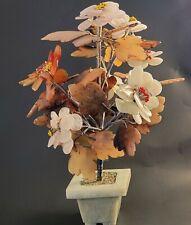 """Rare Antique Chinese Jade Carnelian Bonsai Tree 12"""" Tall precious stones"""